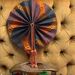African Print Leather Folding Fan